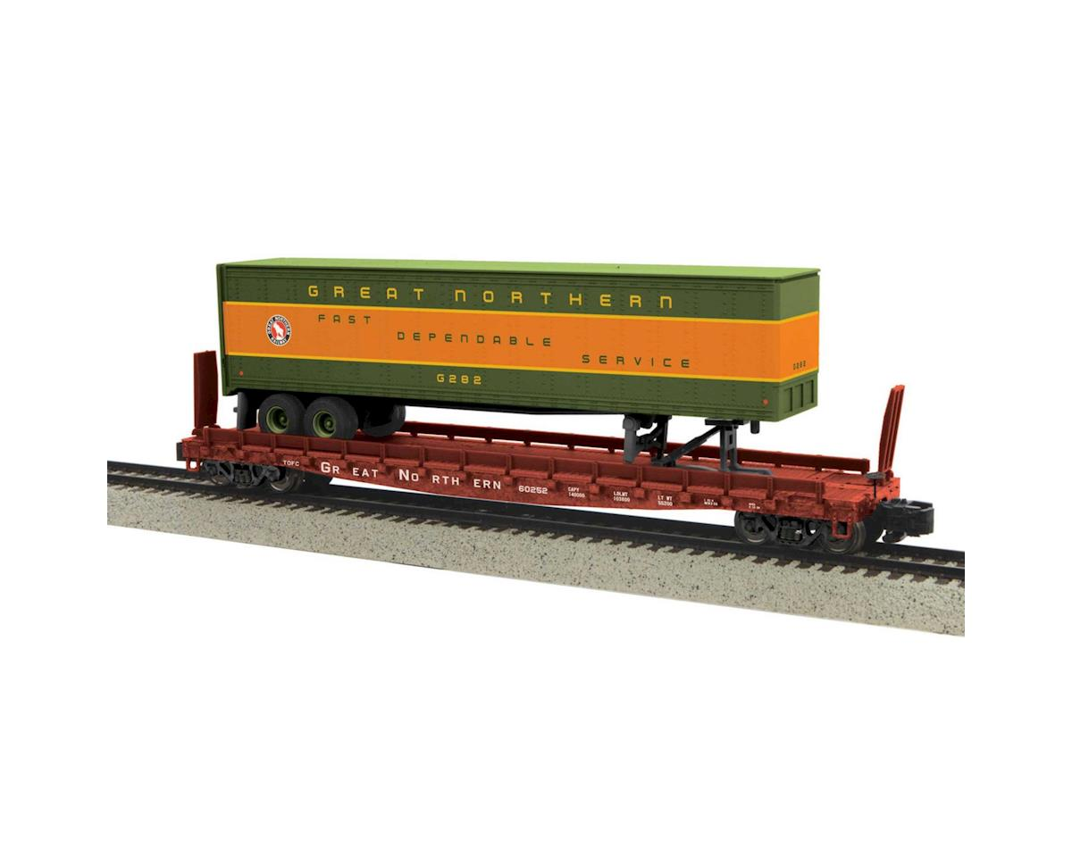 MTH Trains S Flat w/48' Trailer, GN #60252