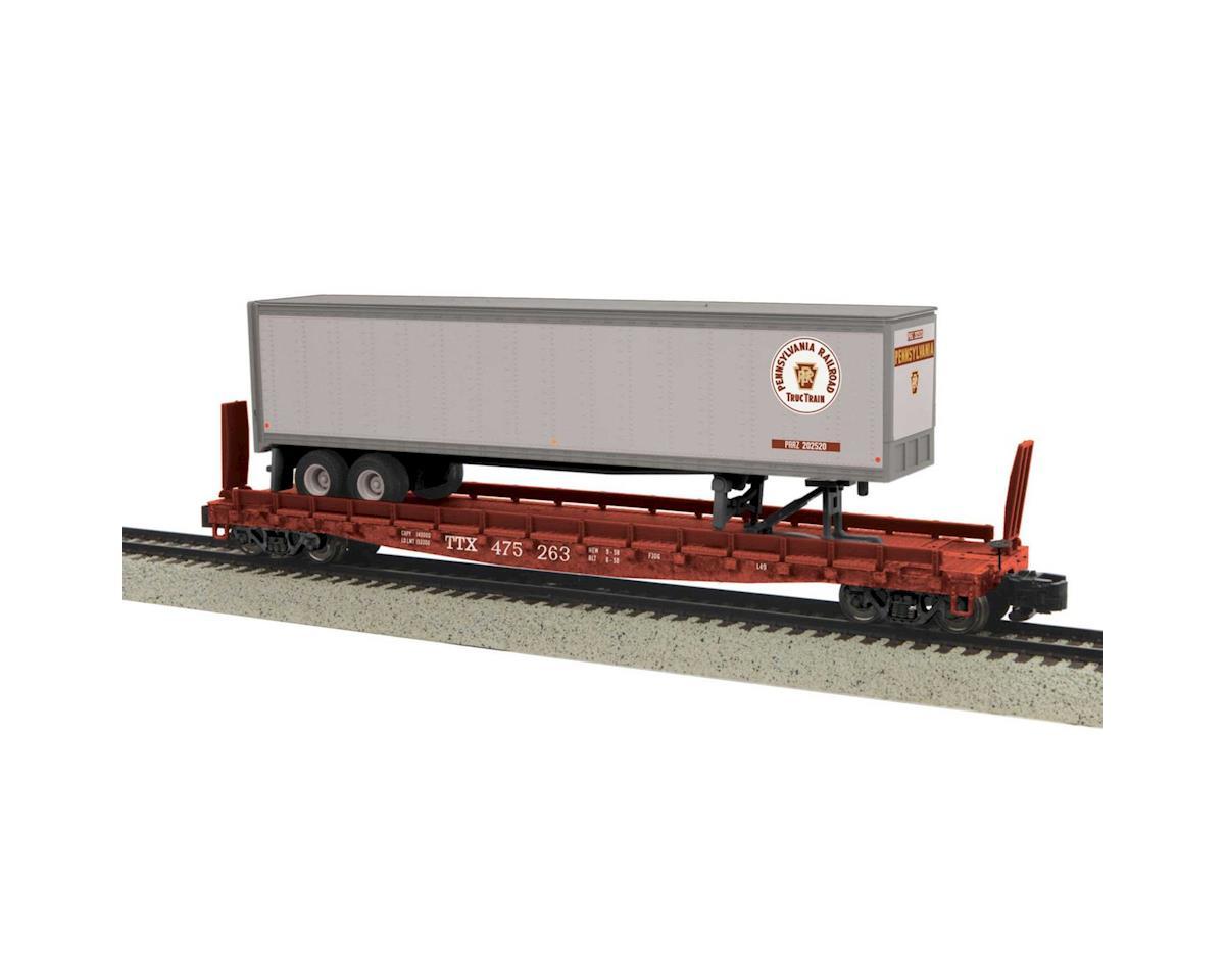 MTH Trains S Flat w/48' Trailer, PRR #475263