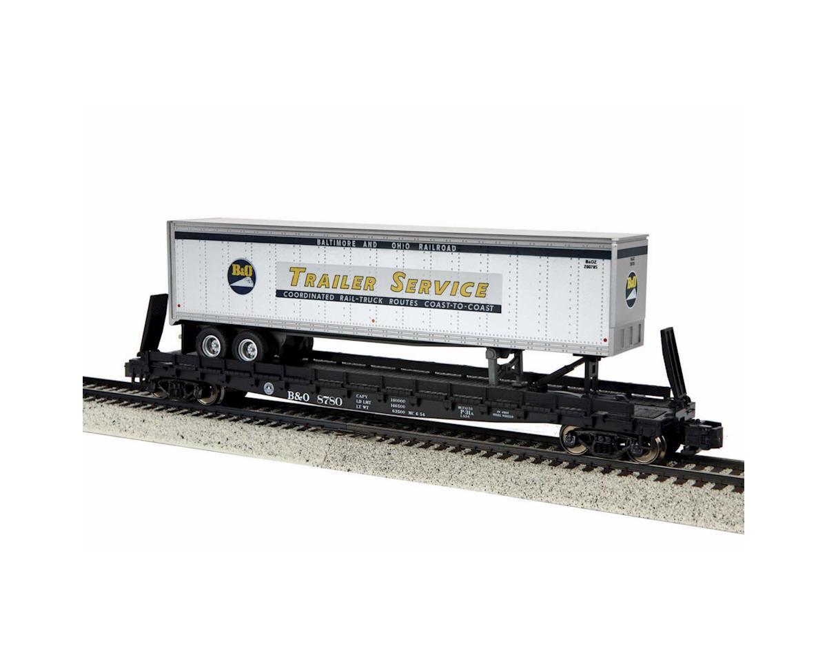 S Scale Flat w/48' Trailer, B&O #8780 by MTH Trains