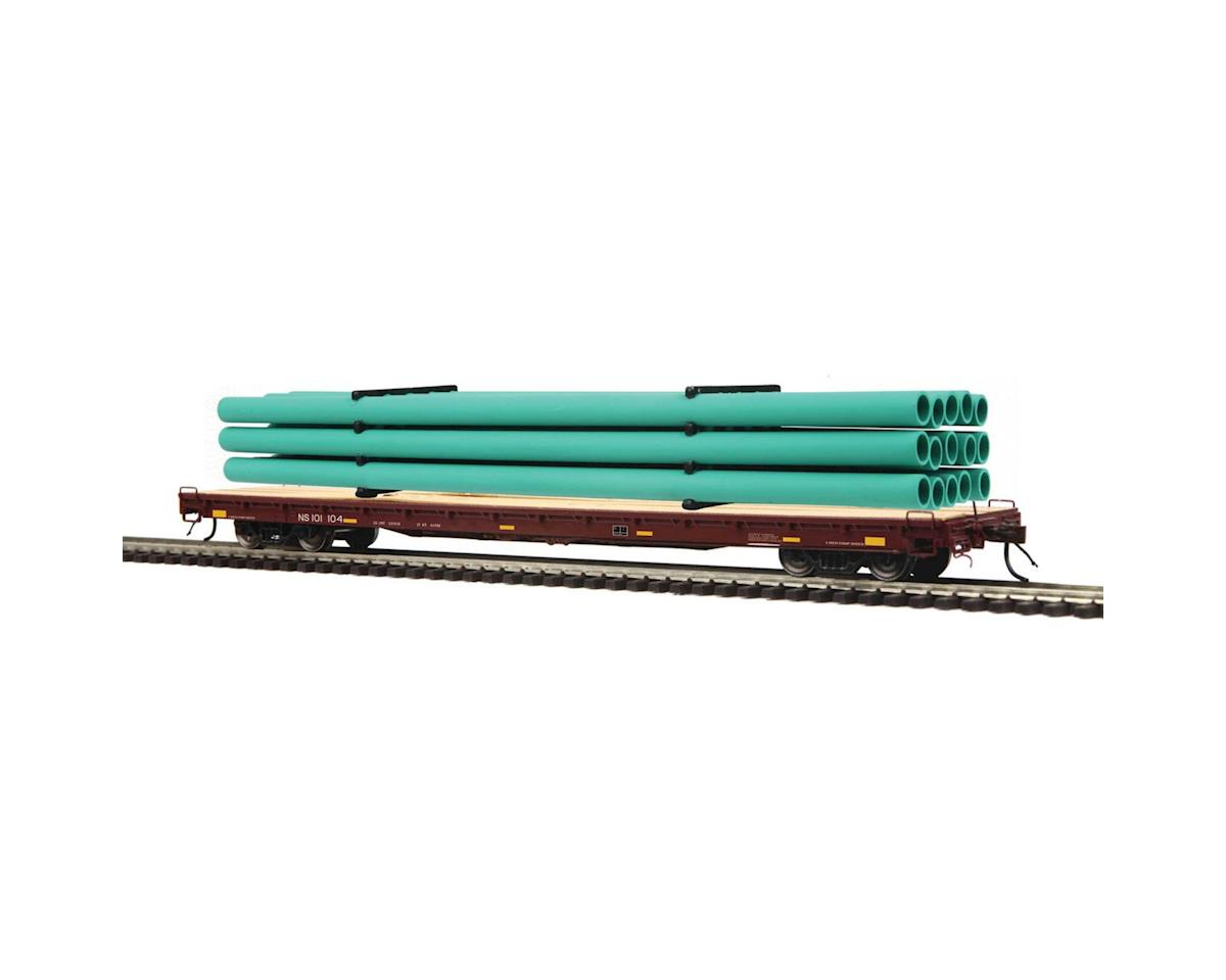 MTH Trains HO 60' Wood Deck Flat w/Pipe Load, NS #101104