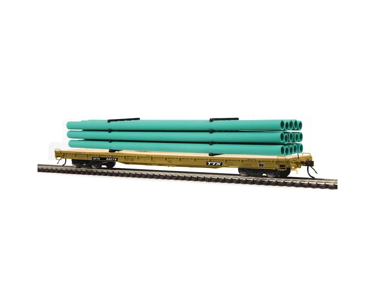 MTH Trains HO 60' Wood Deck Flat w/Pipe, TTX #HTTX 90278