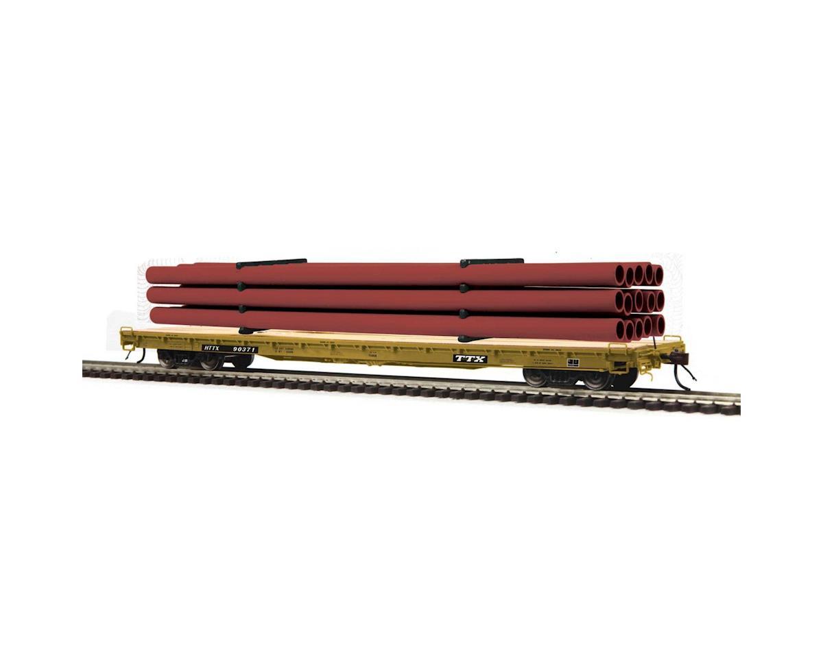 MTH Trains HO 60' Wood Deck Flat w/Pipe, TTX #HTTX 90280