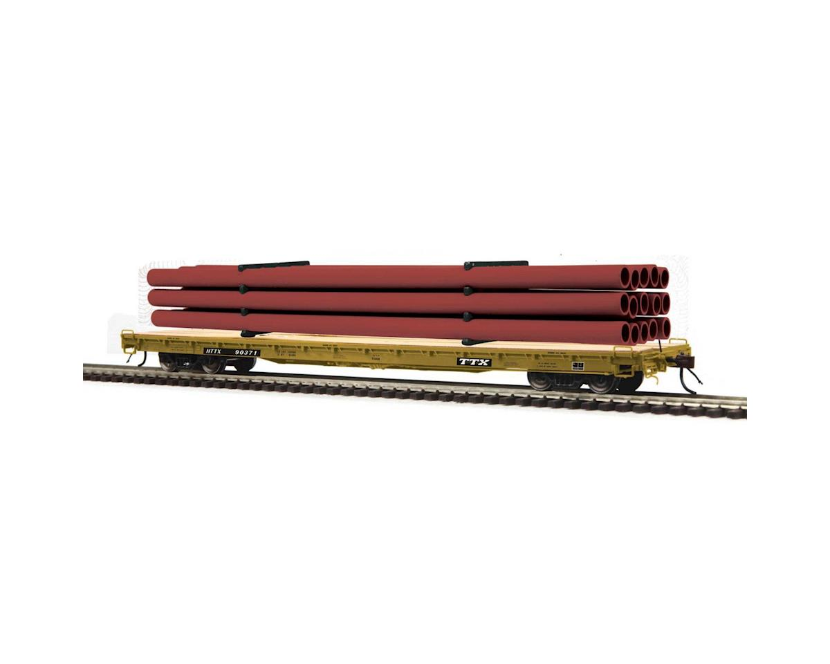 MTH Trains HO 60' Wood Deck Flat w/Pipe, TTX #HTTX 90282
