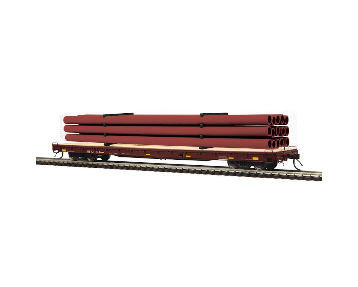 MTH Trains NYAHO 60' Wd Deck Flat/Pipe, NS #101155