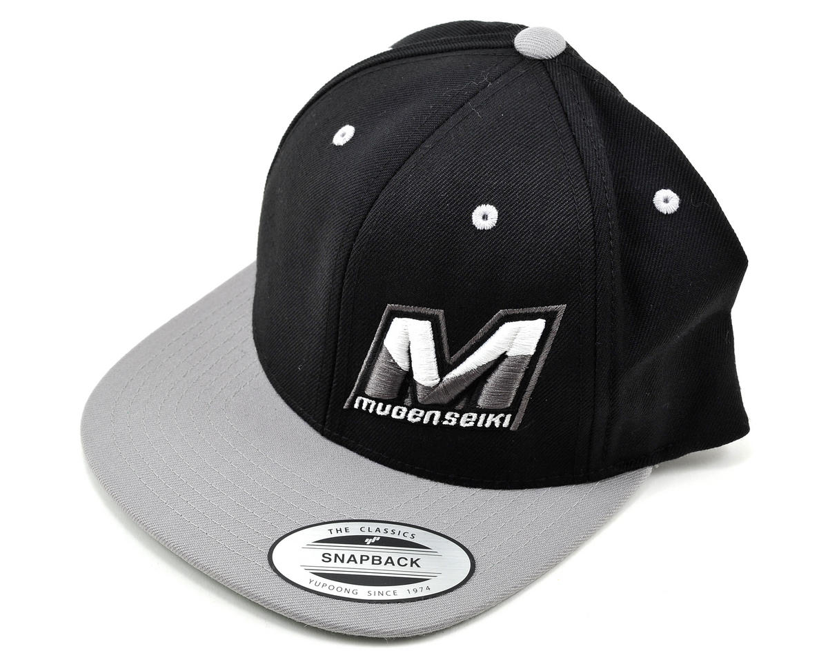 "Mugen Seiki ""M"" Logo Flat Bill Hat (One Size Fits All) (Black/Silver)"