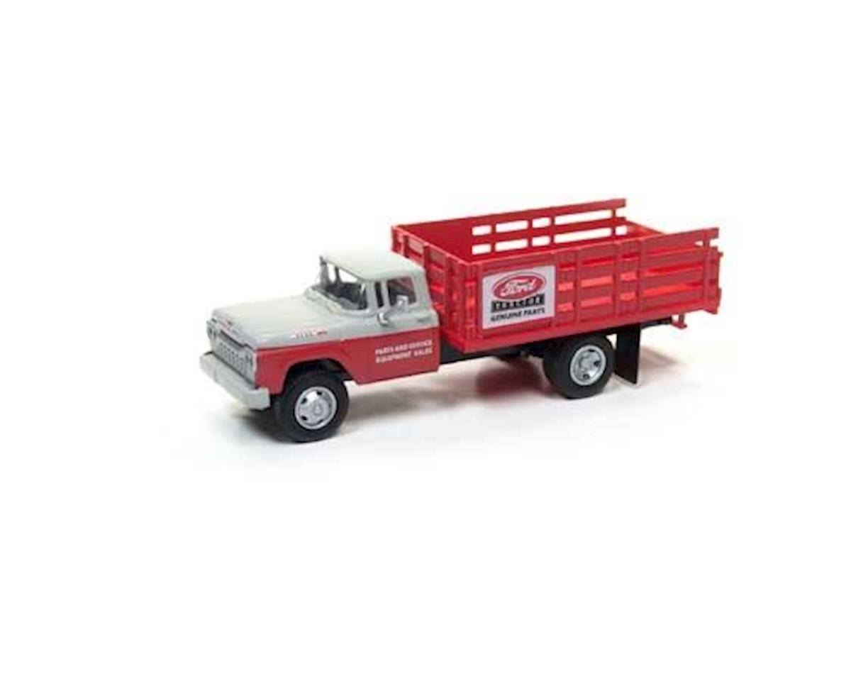 HO 1960 Stakebed Ford Truck, Red/Red & Gray Cab