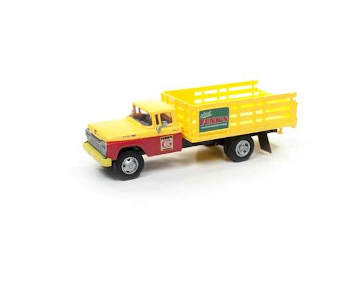 HO 1960 Stakebed Ford Truck, Yellow/Yellow&Red Cab