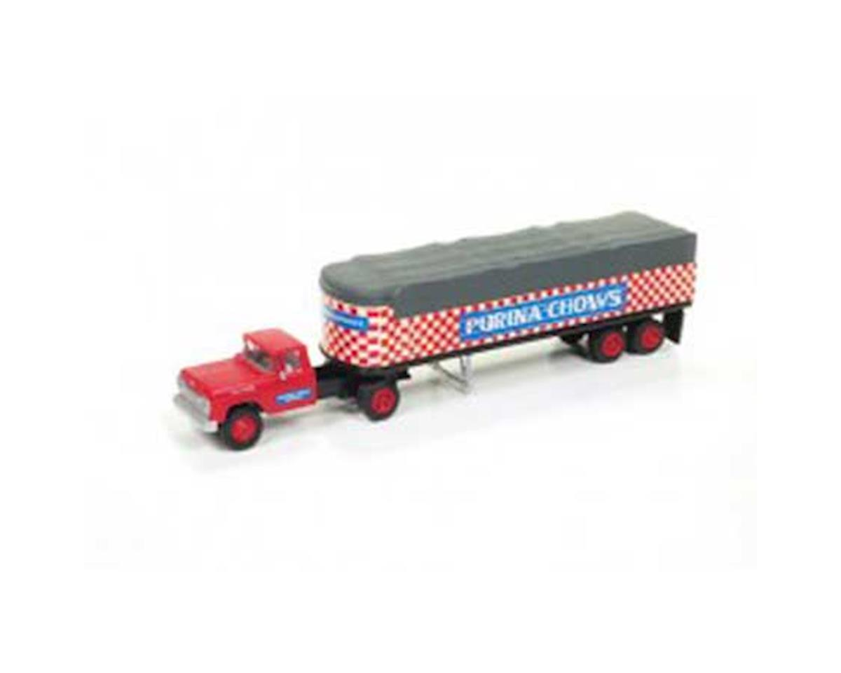 Classic Metal Works HO 1960 Ford Tractor Covered Trailer, Purina Chows