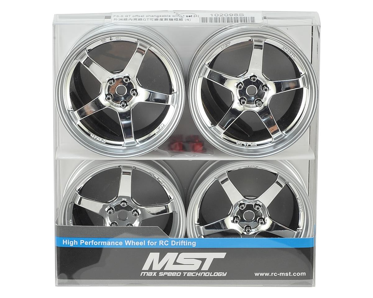 MST GT Wheel Set (Matte Silver/Chrome) (4) (Offset Changeable)