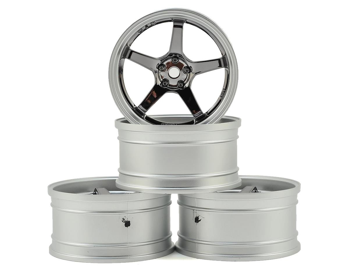 GT Wheel Set (Matte Silver/Black Chrome) (4) (Offset Changeable) by MST MS-01D