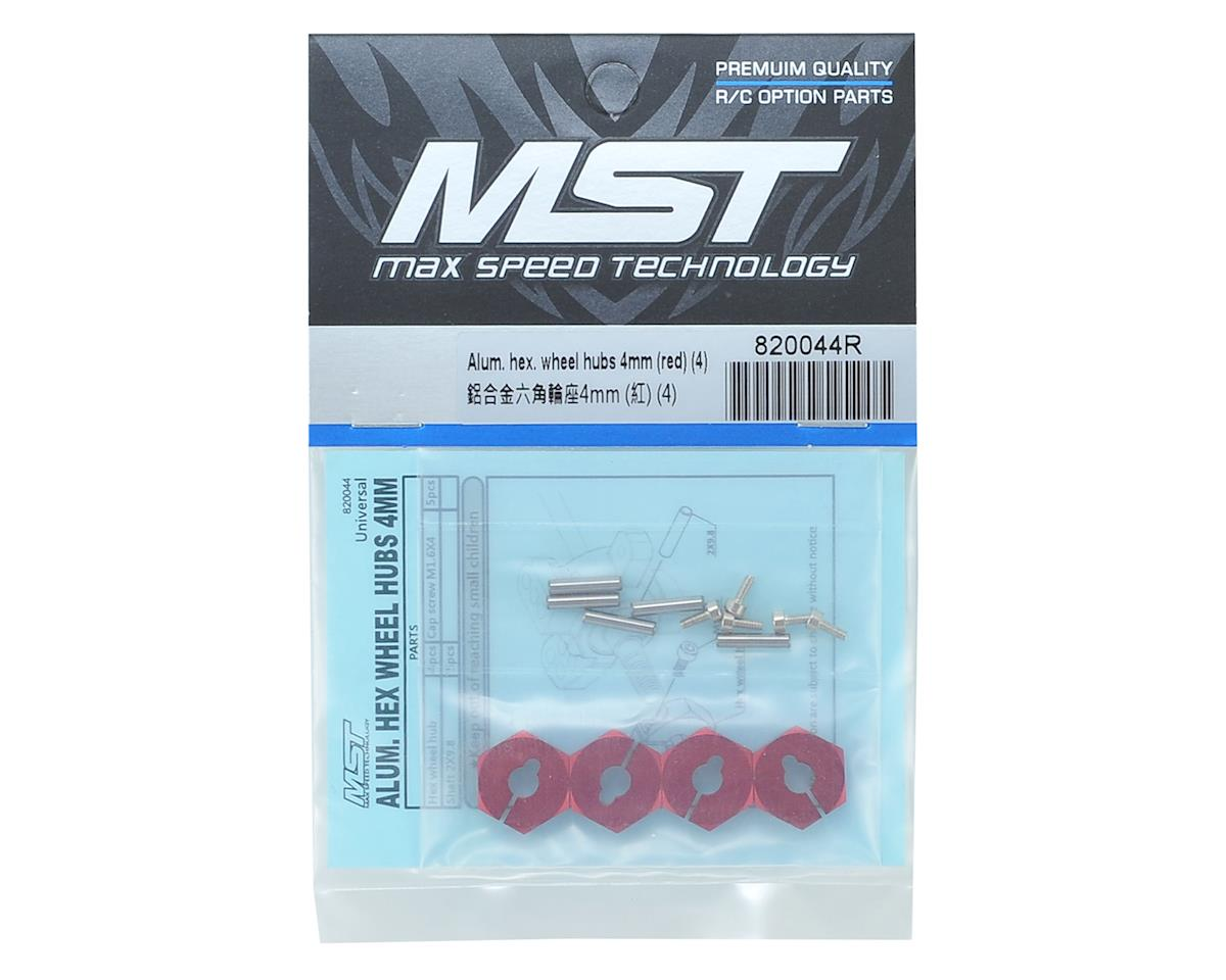 MST Alum. hex. wheel hubs 4mm (red) (4)