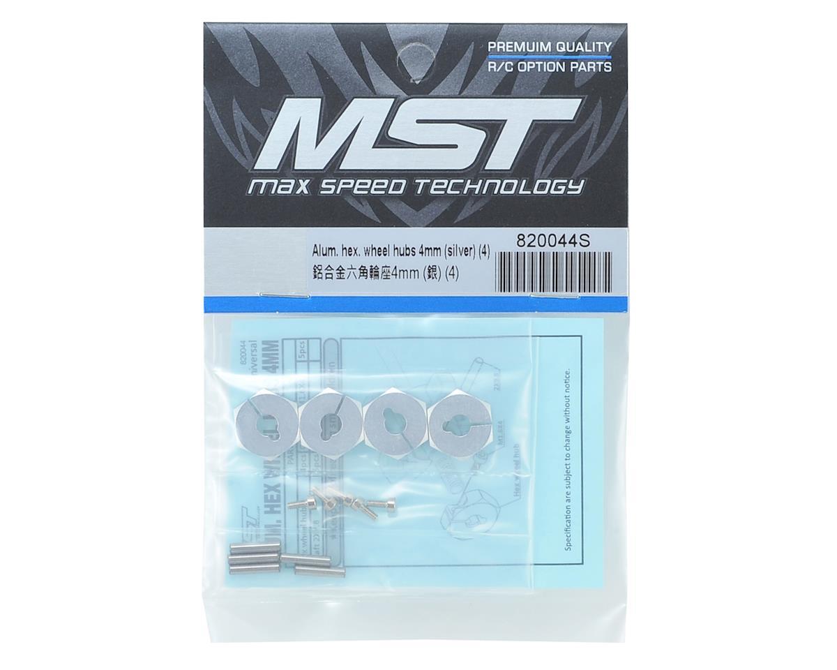 MST Alum. hex. wheel hubs 4mm (silver) (4)