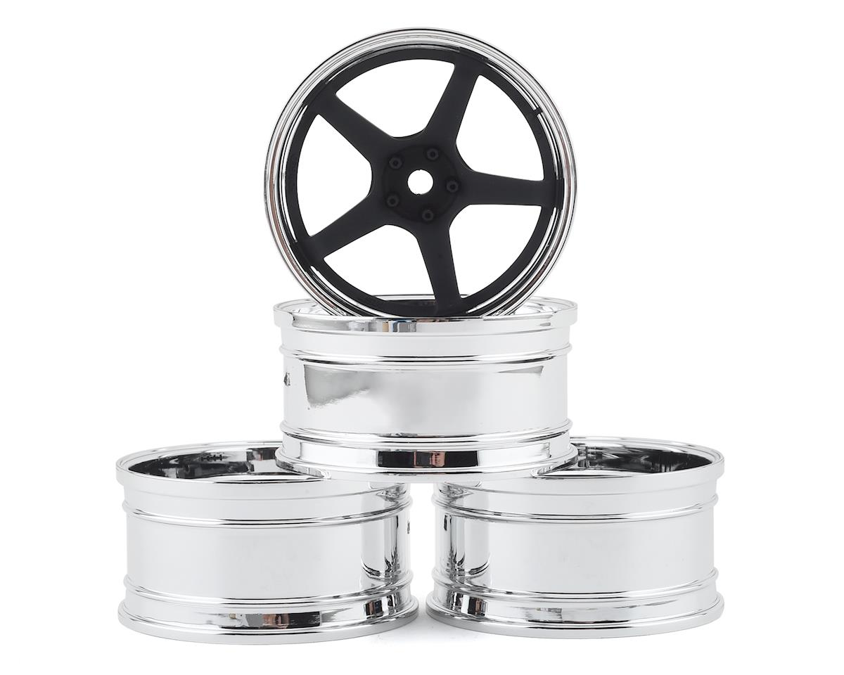 MST GT Wheel Set (Chrome/Black) (4) (Offset Changeable)