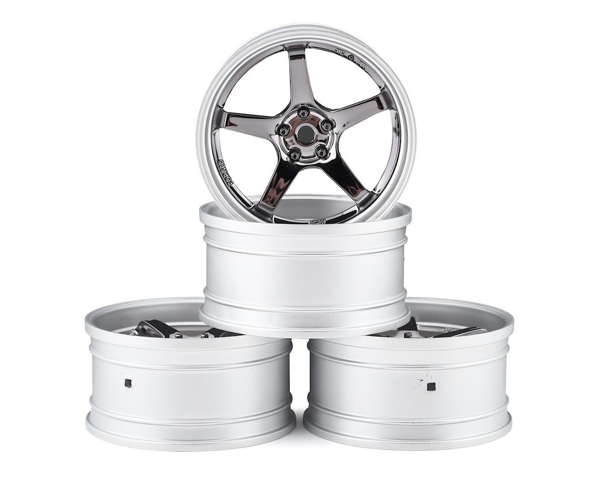 MST GT Wheel Set (Matte Silver/Black Chrome) (4) (Offset Changeable)
