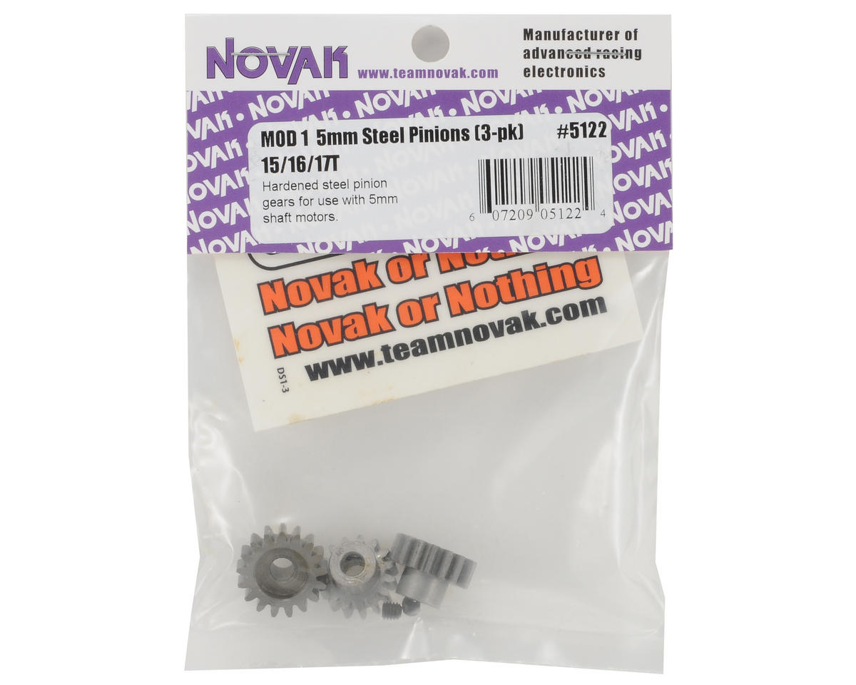 Novak 5mm Bore Steel Mod 1 Pinion 3-Pack (15,16,17)