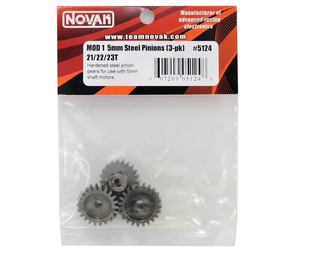 Novak 5mm Bore Steel Mod 1 Pinion 3-Pack (21,22,23)