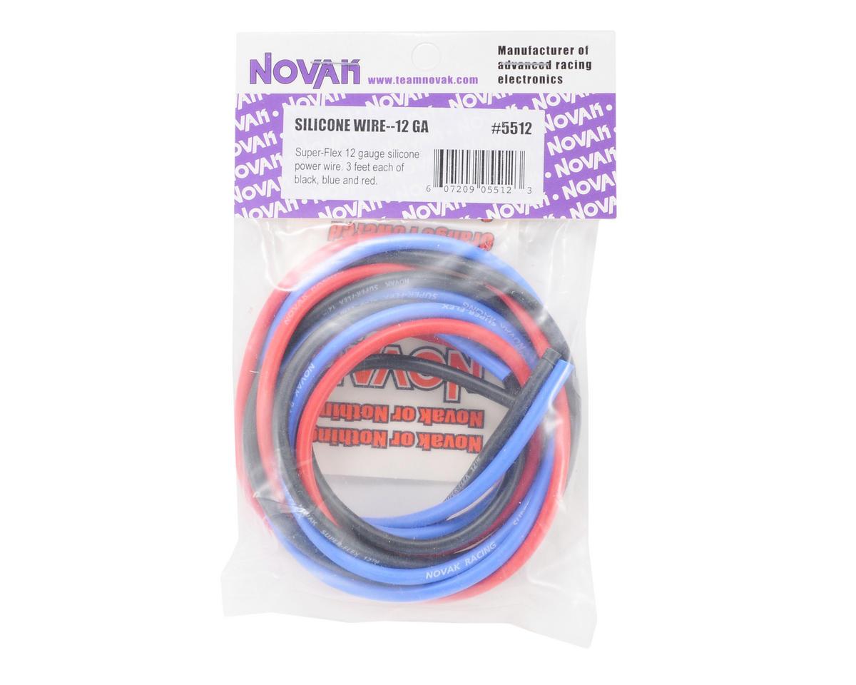Novak 12awg Silicone Super-Flex Power Wire Set (Black/Red/Blue) (3' ea)