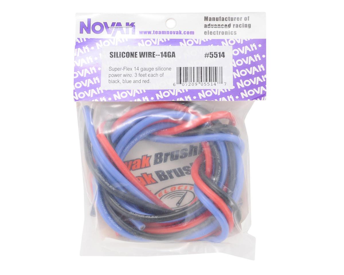 Novak 14awg Silicone Super-Flex Power Wire Set (Black/Red/Blue) (3' ea)