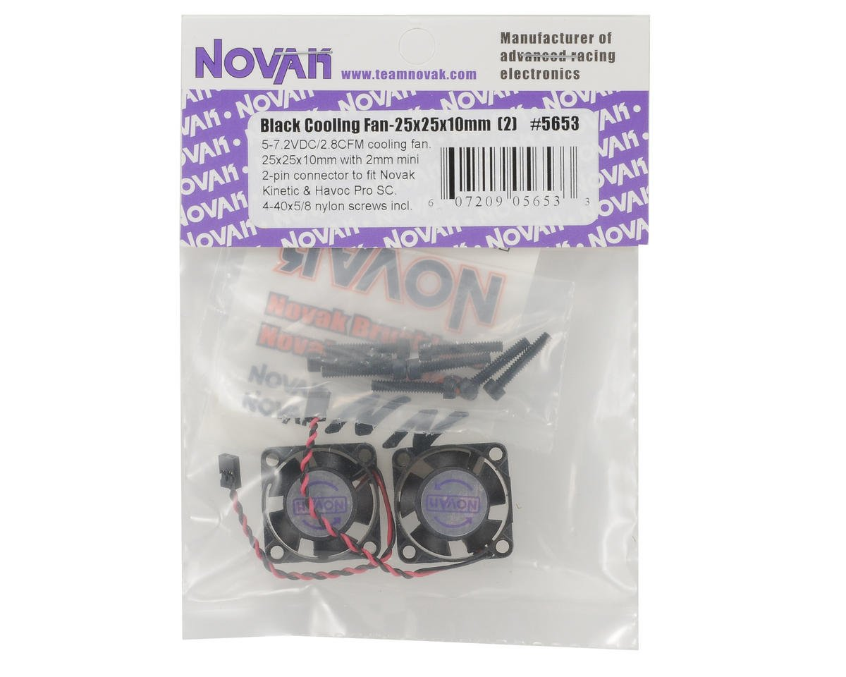 Novak 25x25x10mm Cooling Fan w/2mm Mini Plug (Black) (2)