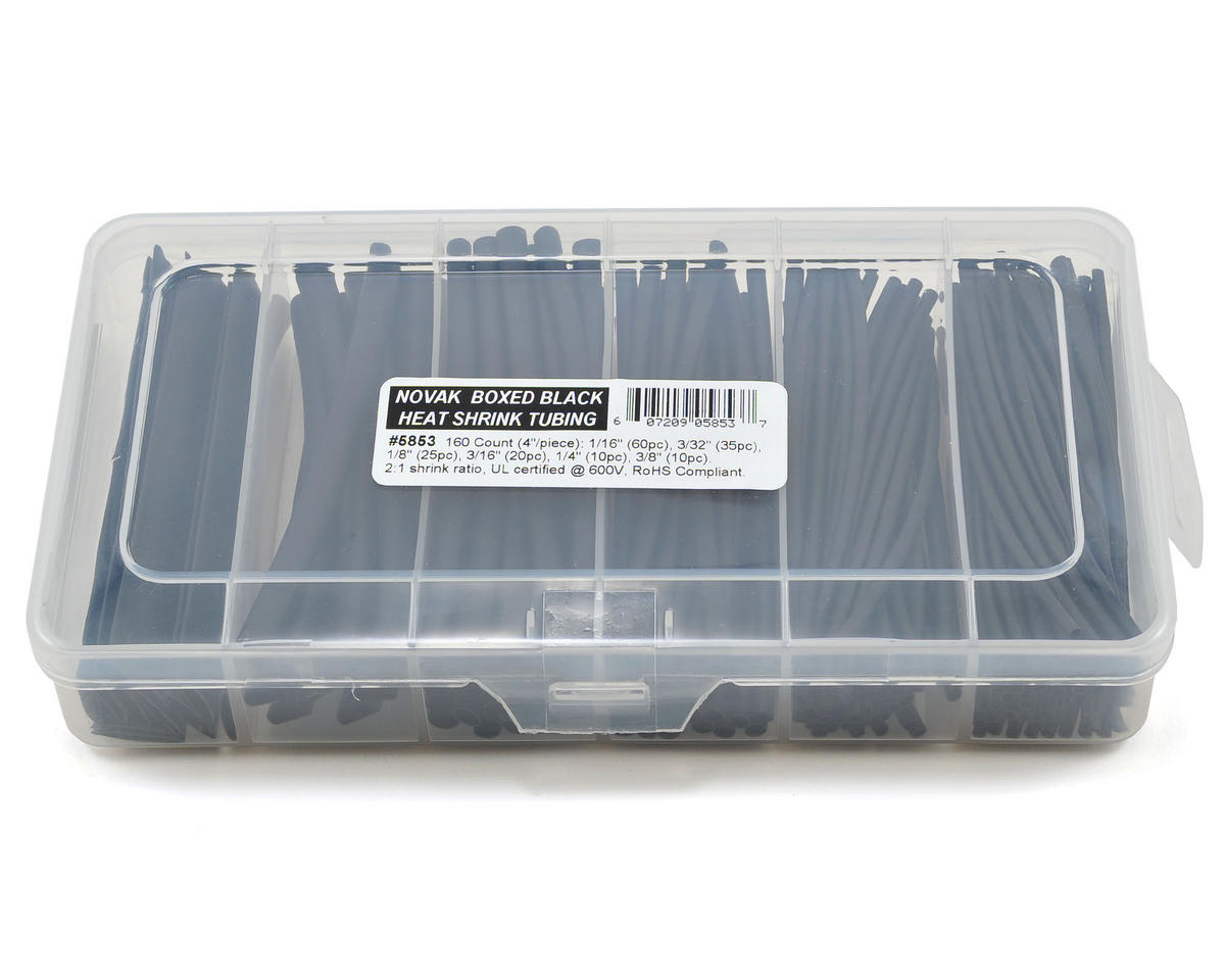 Novak Boxed Heat Shrink Tubing Assortment (Black) (160)