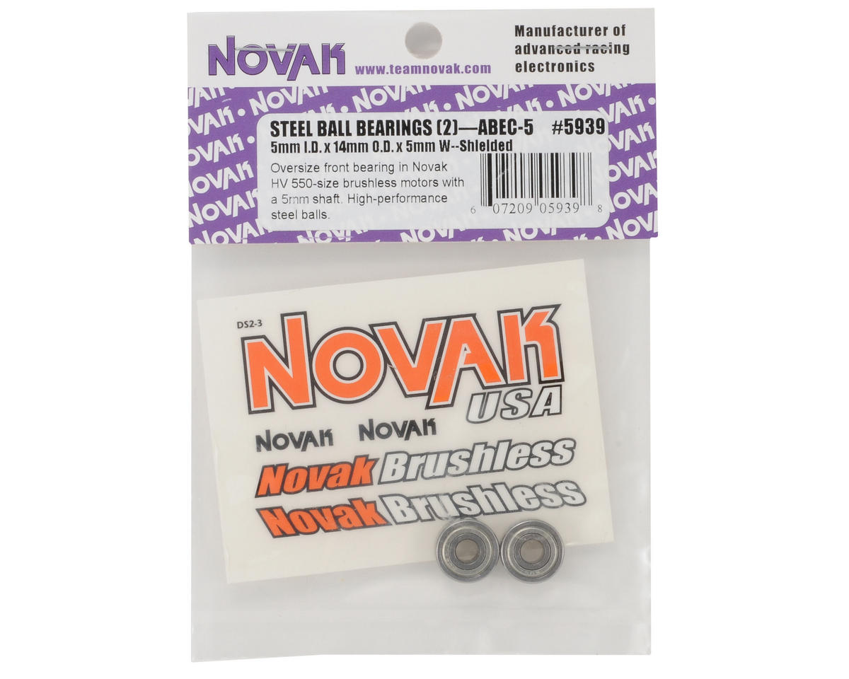Novak 5x14x5mm ABEC-5 Steel Ball Bearing (2)