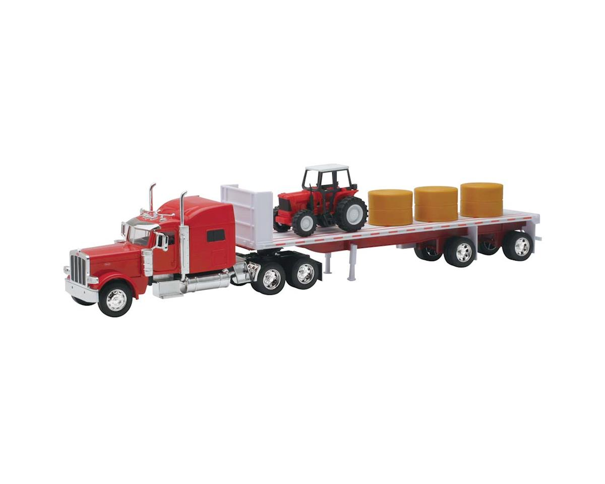 New Ray 10293A 1/32 Petrebilt 389 Flatbed w/Hay/Farm Tractor