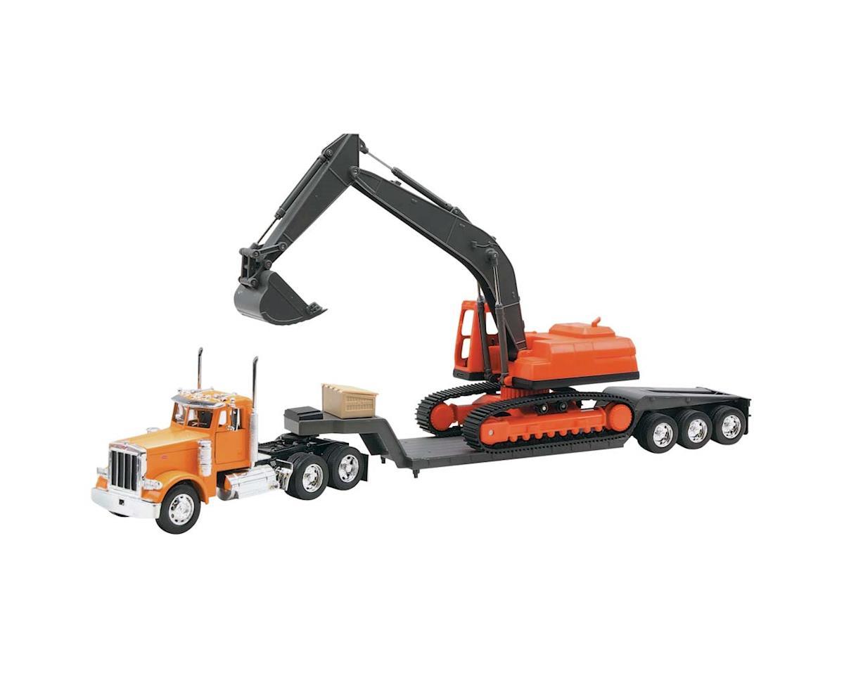 New Ray 11283A 1/32 Peterbilt 379 Lowboy w/Excavator