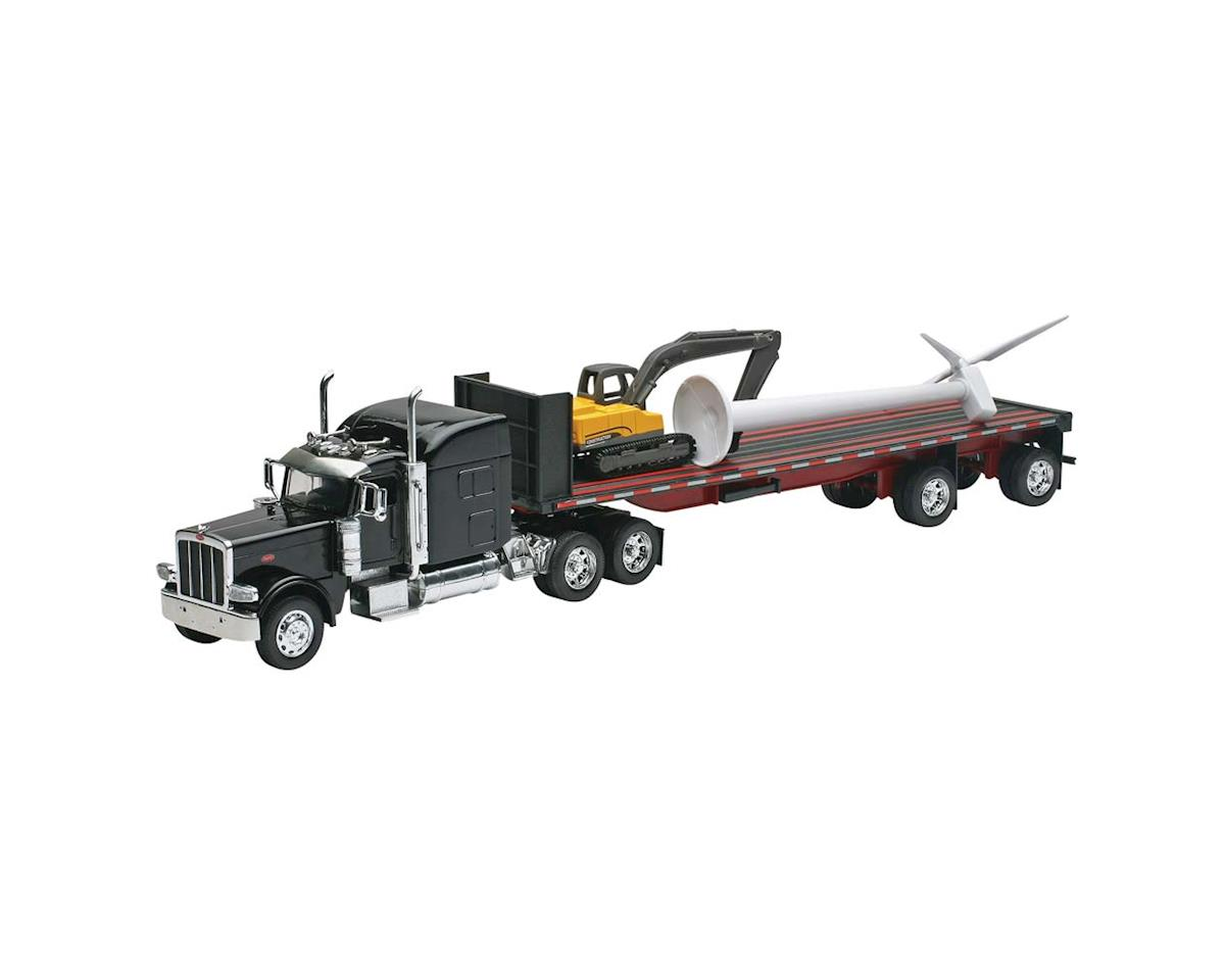 New Ray SS-10333 1/32 Peterbilt 389 Flatbed w/Wind Turbine/Excv