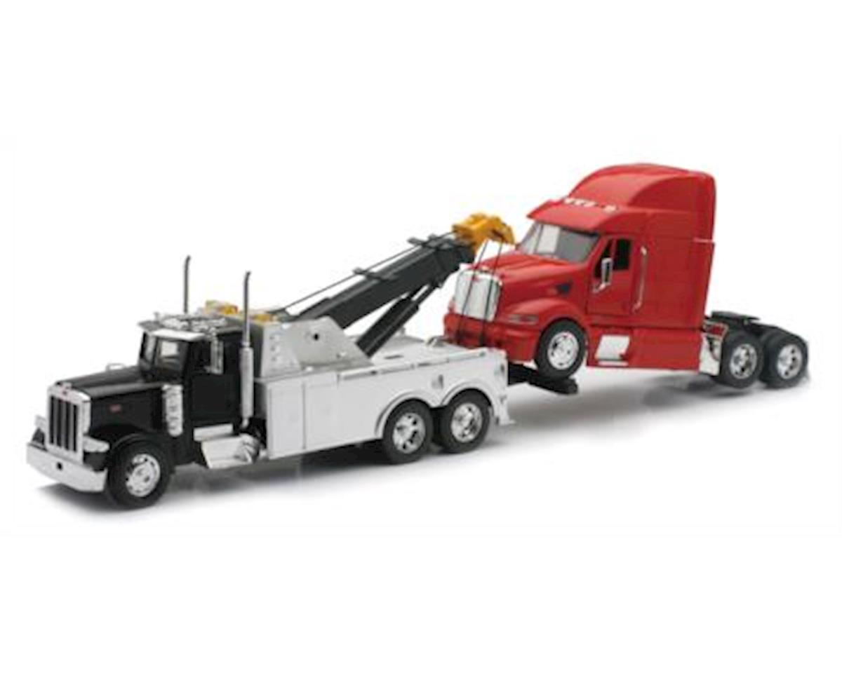 New Ray SS-12053 Peterbilt Black Tow Truck with Red Peterbilt Cab 1/32 Scale Pre-Built Diecast Model Set