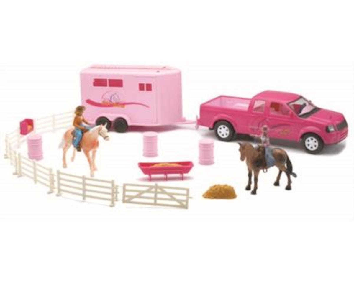 New Ray Pink Pick Up Truck W/Horse Trailer
