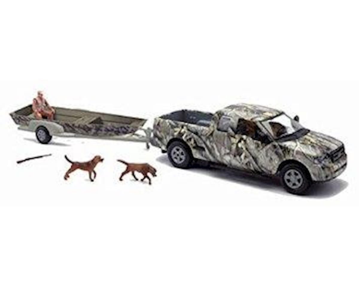 New Ray Camo Pickup Truck W/ Jon Boat&Trail