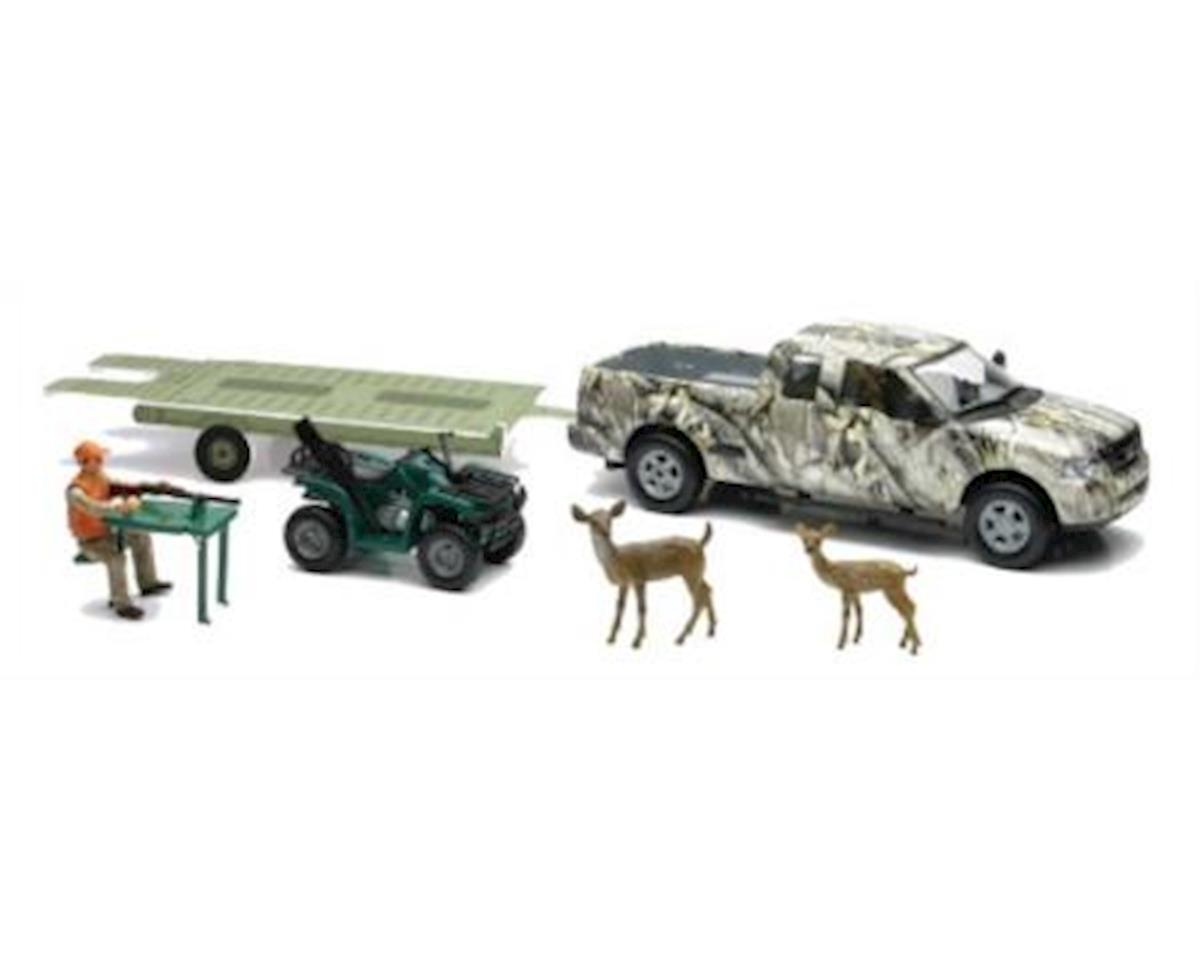 New Ray Camo Pick Up Truck W/ Atv & Trailer