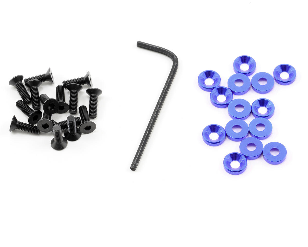 OFNA 3mm Concave Washers w/Screws (Blue) (15)