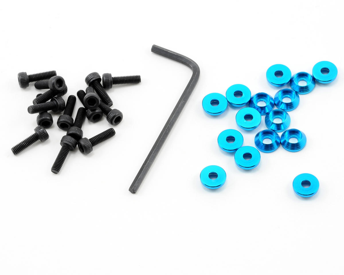 OFNA 3mm Cap Washers w/Screws (Blue) (15)