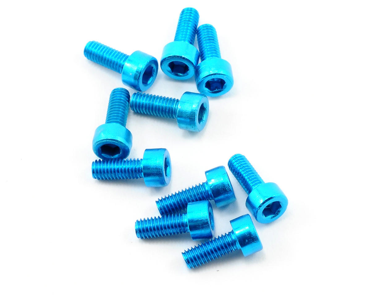 OFNA 3x8mm Caphead Hex Screws (Blue) (10)