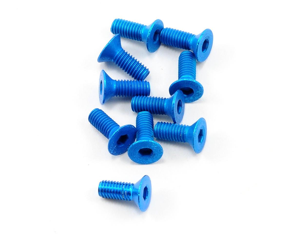 OFNA 3x8mm Flat Head Screws (Blue) (10)