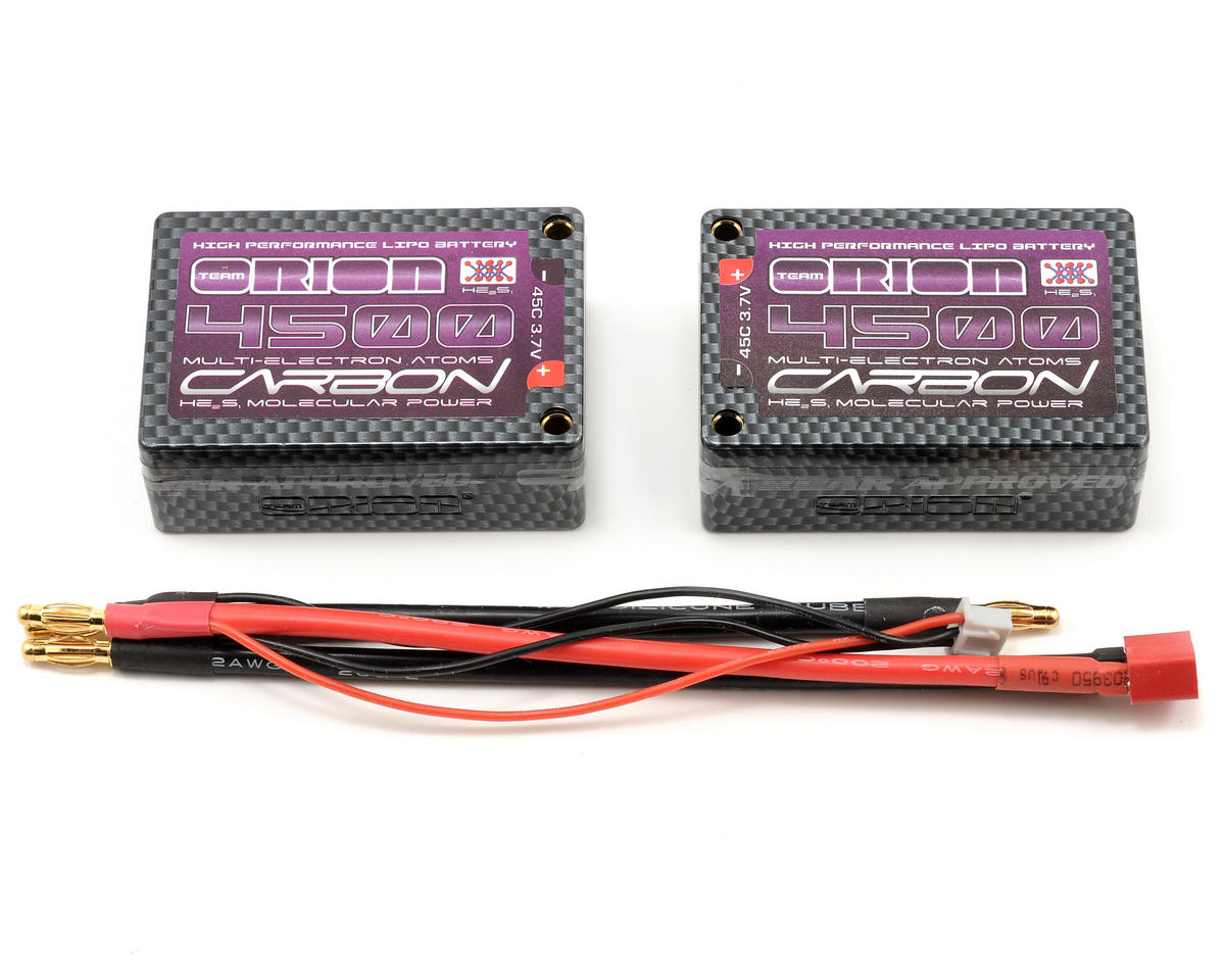 "Team Orion 2S ""Carbon Molecular"" 45C Li-Poly Saddle Pack Battery w/Tubes (7.4V/4500mAh)"