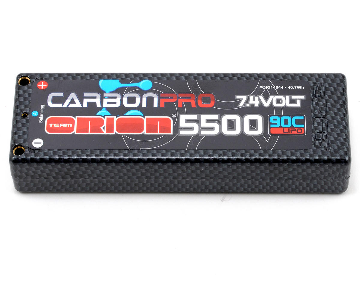 "Team Orion 2S ""Carbon Pro"" 90C Li-Poly Battery Pack w/Tubes (7.4V/5500mAh)"