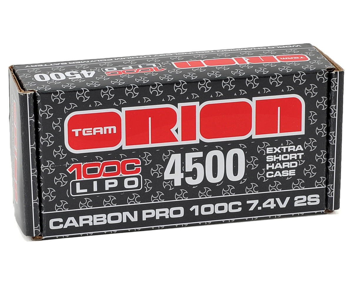 "Team Orion 2S ""Carbon Pro"" 100C LiPo Shorty Pack Battery w/4mm Tubes (7.4V/4500mAh)"