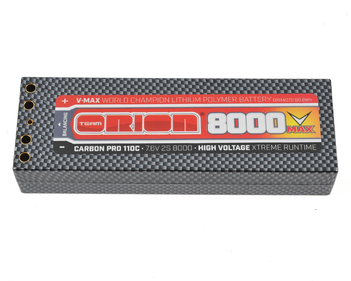 Team Orion 2S Carbon V-Max 110C LiPo Battery (7.6V/8000mAh)