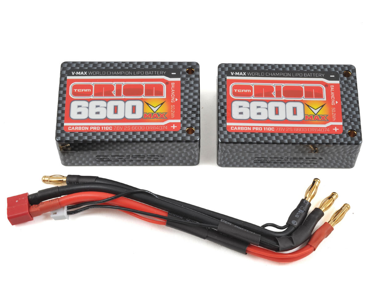 2S Carbon V-Max 110C LiPo Saddle Battery (7.6V/6600mAh) by Team Orion