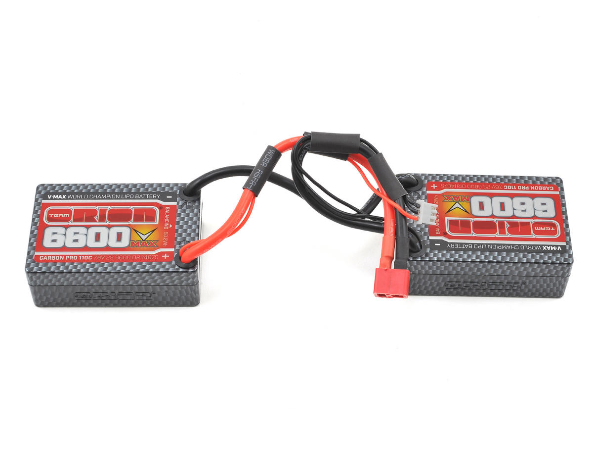 2S Carbon V-Max 110C LiPo Saddle Block Battery w/Deans (7.6V/6600mAh) by Team Orion