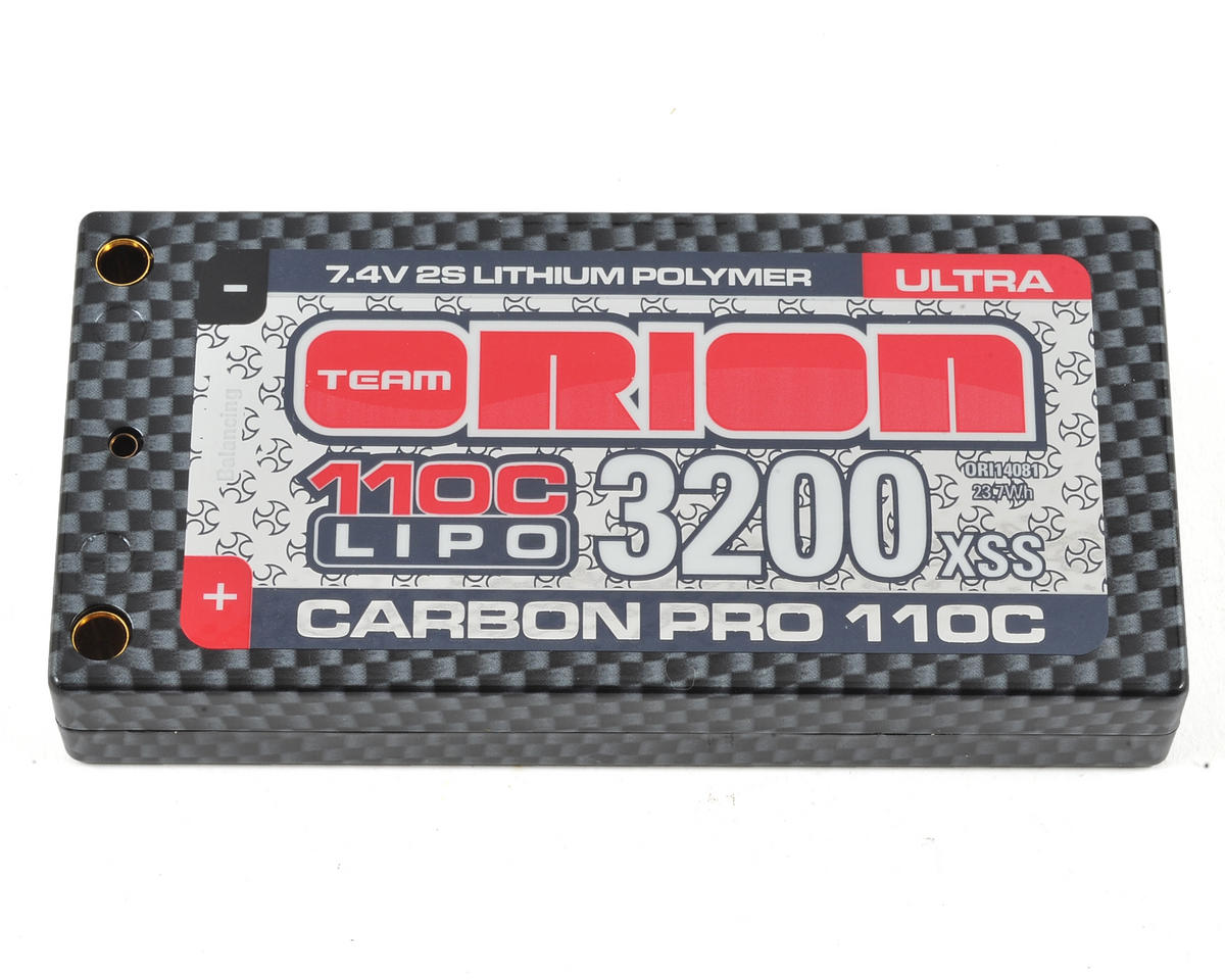 2S Carbon Pro Ultra 110C LiPo Shorty Battery (7.4V/3200mAh) by Team Orion