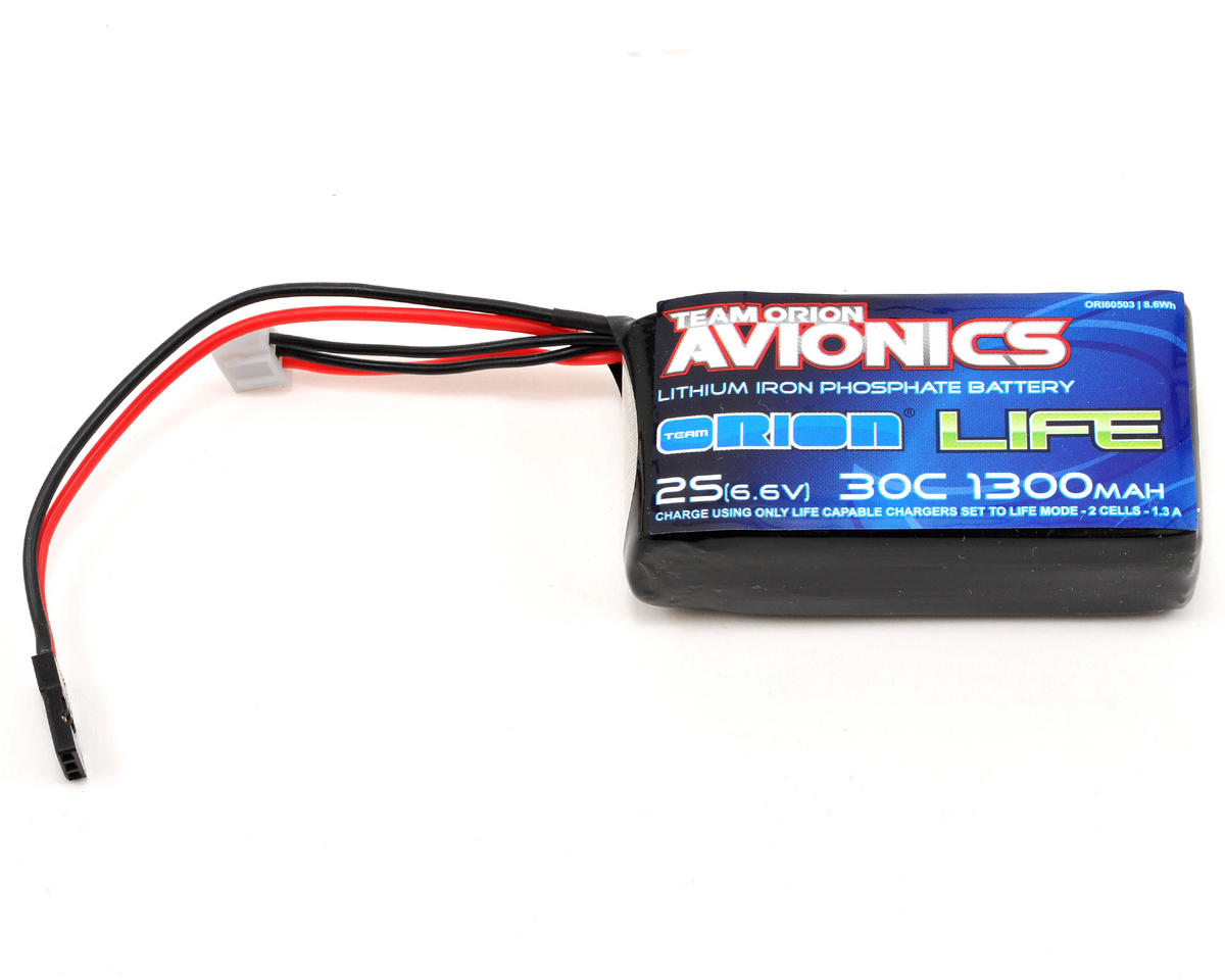 Team Orion Avionics 2S LiFe Receiver Battery 30C w/Universal Plug (6.6V/1300mAh)