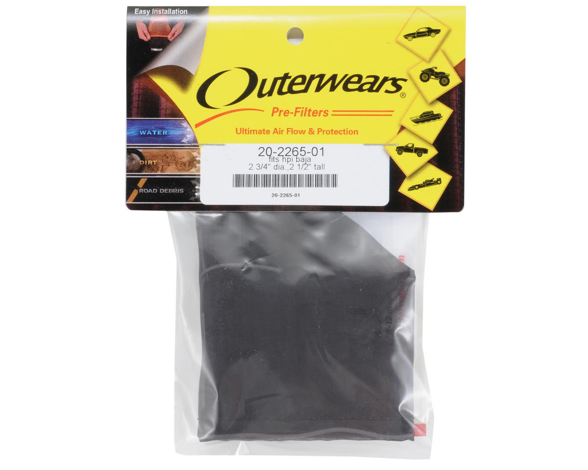 Outerwears Performance Pre-Filter Air Filter Cover (2 3/4 Dia. x 2 1/2) (Black)