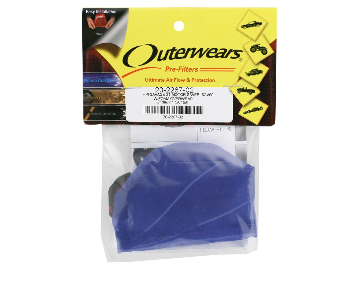 Performance Pre-Filter Air Filter Cover (2 Dia. x 1 5/8 Tall) (Blue) by Outerwears