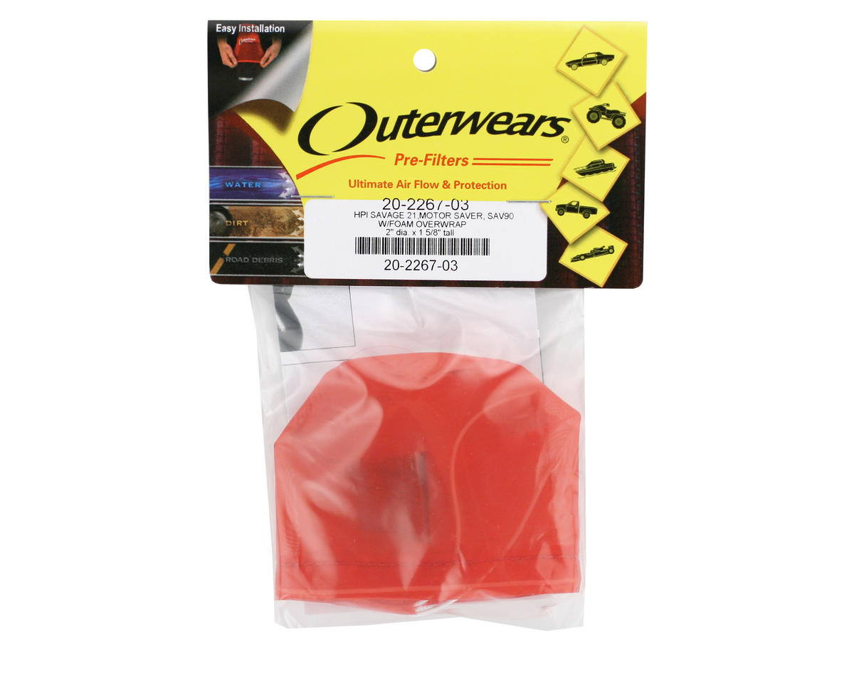 Outerwears Performance Pre-Filter Air Filter Cover (2 Dia. x 1 5/8 Tall) (Red)
