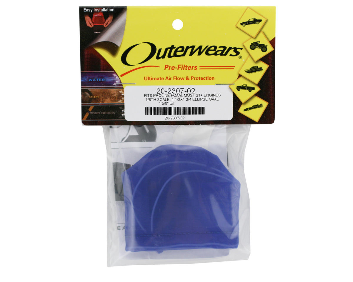 Outerwears Performance Pre-Filter Air Filter Cover (1 1/2 x 1 3/4 Oval x 1 5/8 Tall) (Blue)