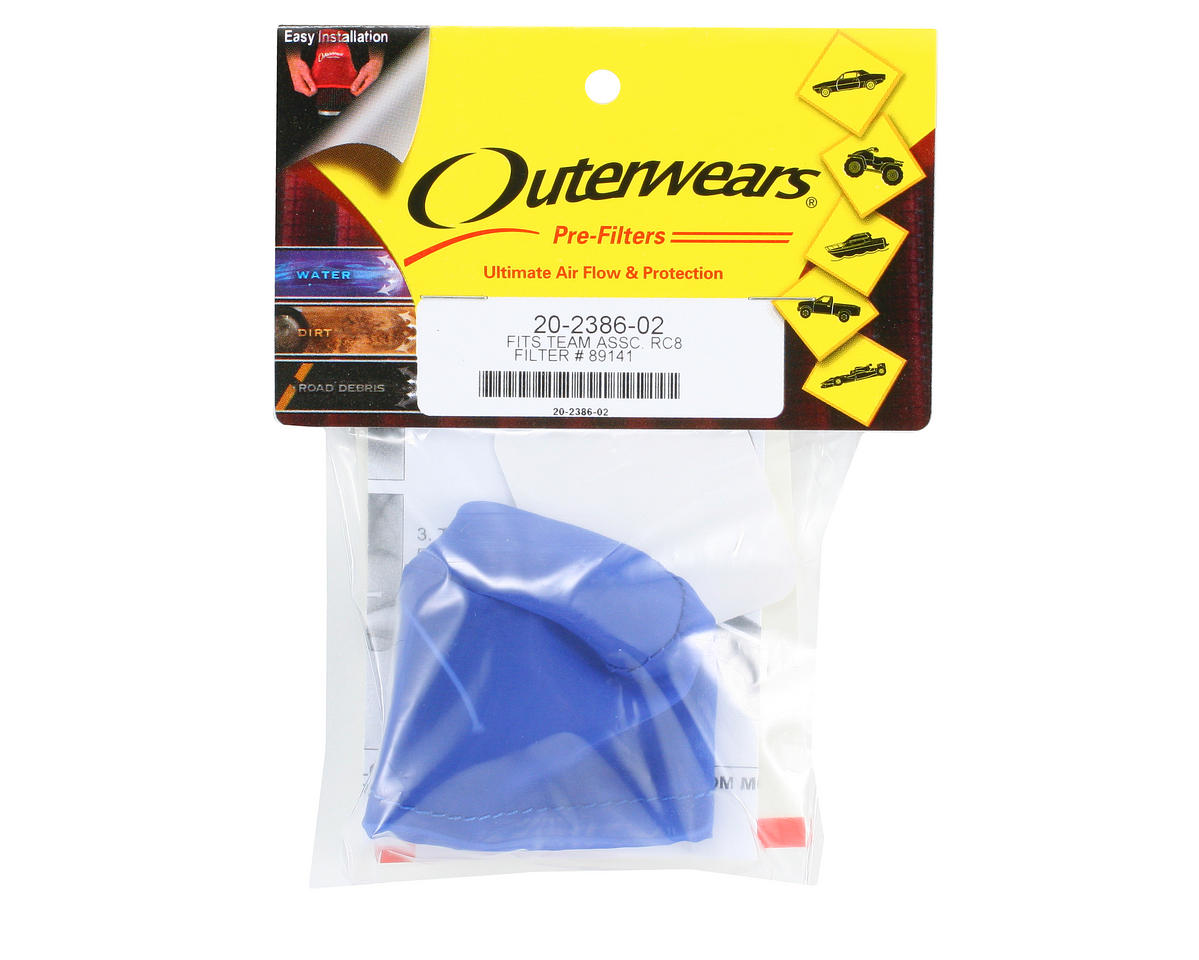 Performance Pre-Filter Air Filter Cover (Associated RC8) (Blue) by Outerwears