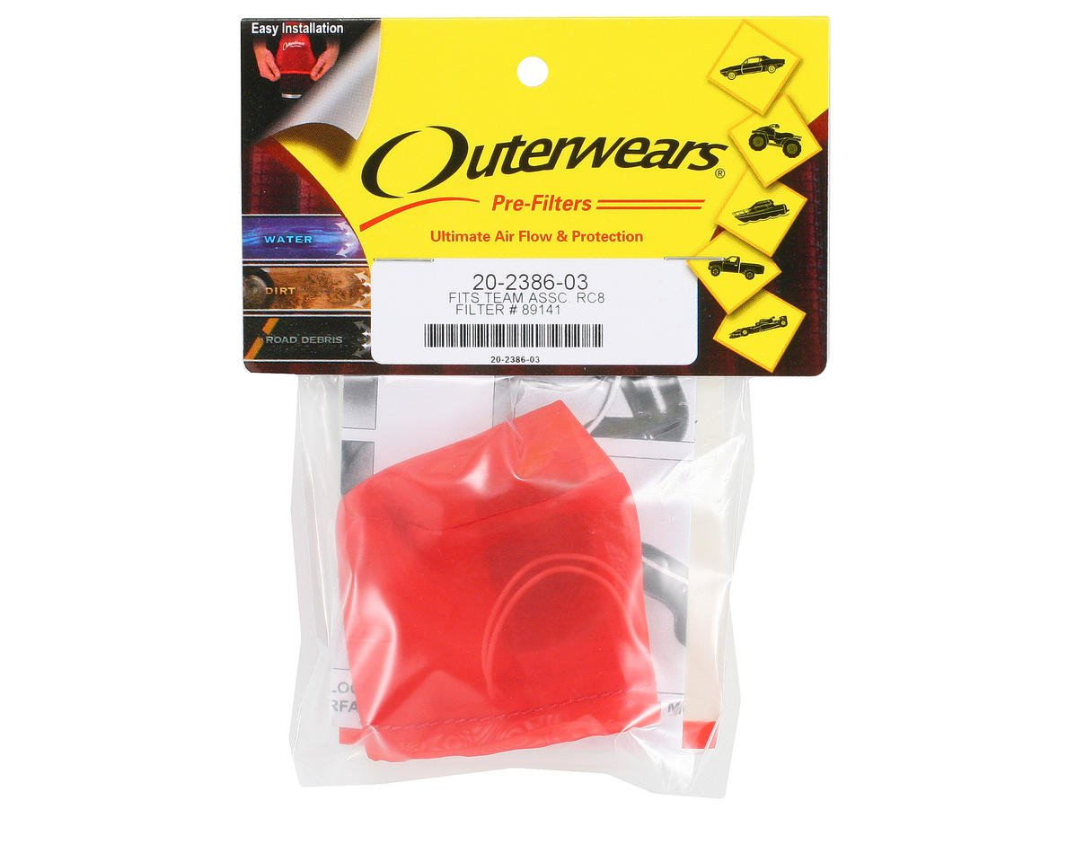 Outerwears Performance Pre-Filter Air Filter Cover (Associated RC8) (Red) [OUT20-2386-03] | Cars ...